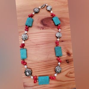 Jewelry - Turquoise Red  Beaded Necklace